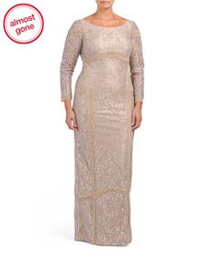 TERANI COUTURE Plus Beaded Lace Gown