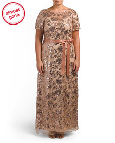 R&M RICHARDS Plus Embroidered Lace Mesh Gown
