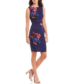 Nicole Miller Floral Print Tucked Sheath Dress