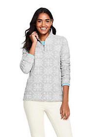 Lands End Women's Print Quarter Zip Fleece Pullove
