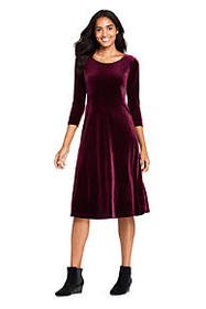 Lands End Women's 3/4 Sleeve Velvet A-line Dress