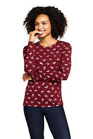 Lands End Women's Long Sleeve Christmas T-Shirt Pr