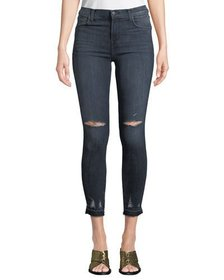 J Brand Alana Cropped High-Rise Distressed Skinny