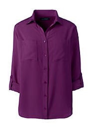 Lands End Women's Petite Rolled Sleeve Soft Blouse