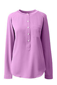 Lands End Women's Plus Size Long Sleeve Henley Sof