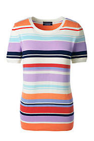 Lands End Women's Short Sleeve Supima Stripe Sweat
