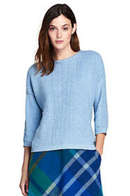 Lands End Women's Cozy-Lofty 3/4 Sleeve Shaker Swe