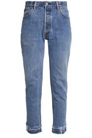 RE/DONE by LEVI'S Distressed high-rise slim-leg je