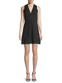 French Connection Zahra Lace Cotton Dress BLACK