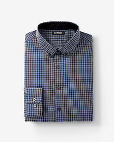 Express extra slim fit plaid button collar perform