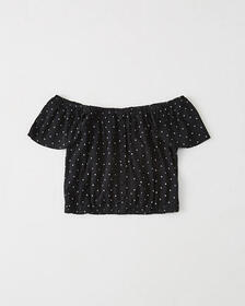 Printed Off-The-Shoulder Top, BLACK DOT