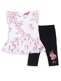Betsey Johnson Little Girl's Two-Piece Rose Top &