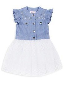 Little Lass Little Girl's Studded Cotton Dress BLU