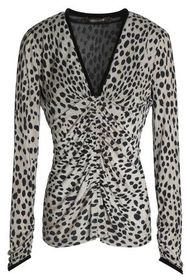 ROBERTO CAVALLI Ruched leopard-print silk and wool