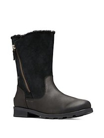 Sorel Emilie Foldover Faux-Shearling, Leather and