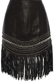 BALMAIN Fringed embellished leather mini skirt