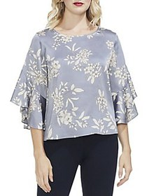 Vince Camuto Petite Ruffle Sleeve Floral Top INK B