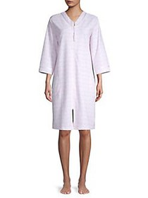 Miss Elaine Printed Full-Zip Cotton Blend Robe PIN
