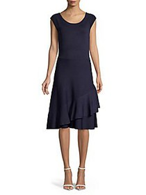 Eliza J Ribbed A-Line Dress NAVY