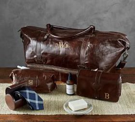 Pottery Barn Personalized Saddle Leather Travel Co