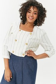 Forever21 Plus Size Pinstriped Double-Breasted Top