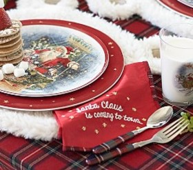 Pottery Barn Red Plaid Trim Holiday Napkin