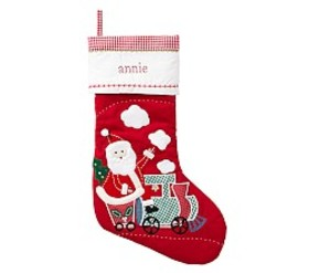 Pottery Barn Santa & Train Quilted Stocking