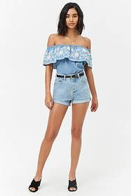 Forever21 Embroidered Floral Flounce Top
