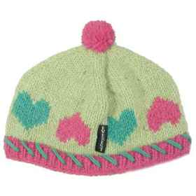 Everest Designs Hearts Beanie - Wool (For Kids) in