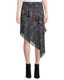 Iro Blink Floral Tiered Asymmetrical Midi Skirt