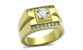 Men's Stainless Steel 14K Gold Ion Plated 1.26 Ct