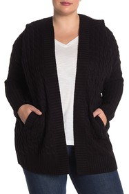 Modern Designer Cable Knit Hooded Cardigan (Plus S
