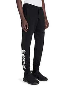 Marcelo Burlon Fleece Drawstring Pants BLACK WHITE