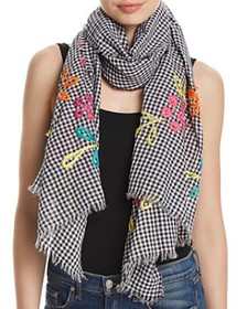 Fraas - Embroidered Gingham Oblong Scarf