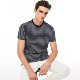Lacoste Men's Crew Neck Striped Flamme Cotton Jers
