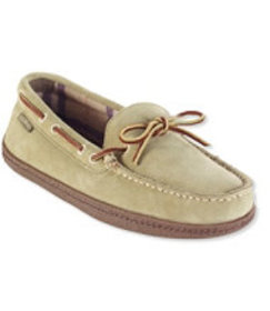 LL Bean Handsewn Flannel-Lined Slippers, Suede