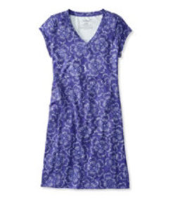 LL Bean Fitness Dress Water Lily Print Misses
