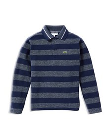 Lacoste - Boys' Striped Heathered Long-Sleeve Polo
