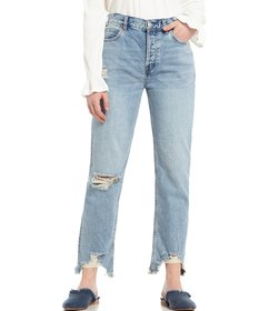 Free People Chewed Up Straight Leg Distressed Ankl