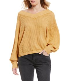 Free People South Side Bishop Sleeve Waffle Knit T