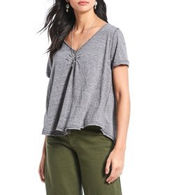 Free People All You Need Ruched V-Neck Tee