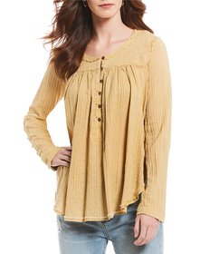 Free People Sand Dune Woven Henley Flowy Top