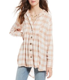 Free People All About the Feels Woven Plaid Top