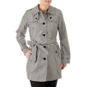 LONDON FOG Petite Gingham Print Belted Trench Coat