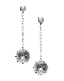 Tory Burch - Faceted & Simulated Pearl Drop Earrin