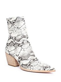 Matisse Caty Snake-print Leather Ankle Boots BLACK