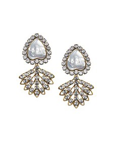 Tory Burch - Crystal & Mother of Pearl Clip-On Ear