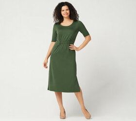 H by Halston Petite Ruched Waist Elbow-Sleeve Midi