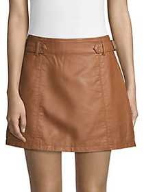 Free People Charli Vegan A-Line Mini Skirt HONEY