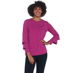 """""""As Is"""" Joan Rivers Jersey Knit Top with Ruffle Sl"""